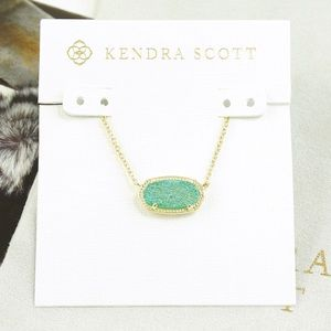 Kendra Scott Elisa Necklace Teal Drusy Gold Tone